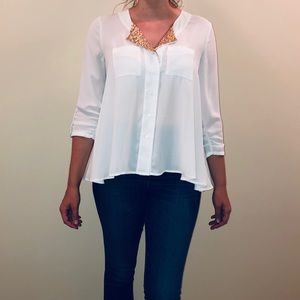 White Button Up Blouse with Gold Sequins